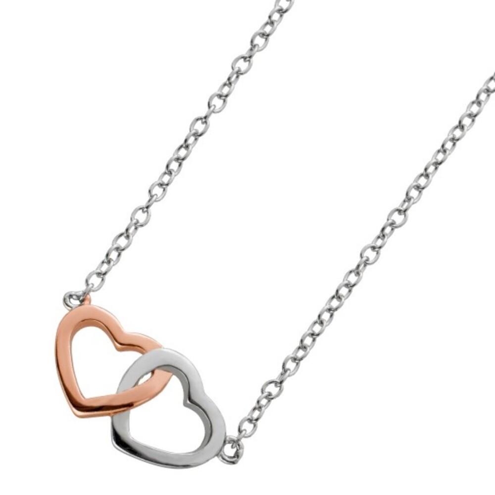 Doppelherz Kette Collier Silber 925 teils rosevergoldet Ankerkette Herzkette 40+5cm