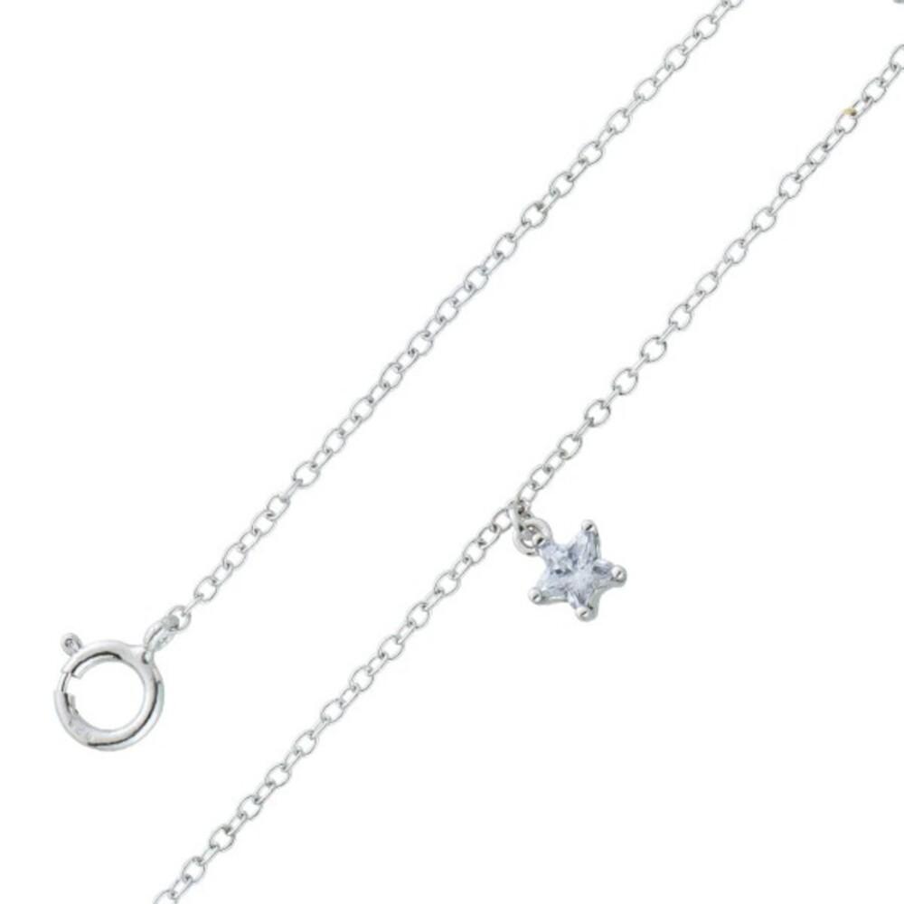 Fusskette Silber 925 Ankerkette Sternförmiger weisser Zirkonia 5mm  23+5cm