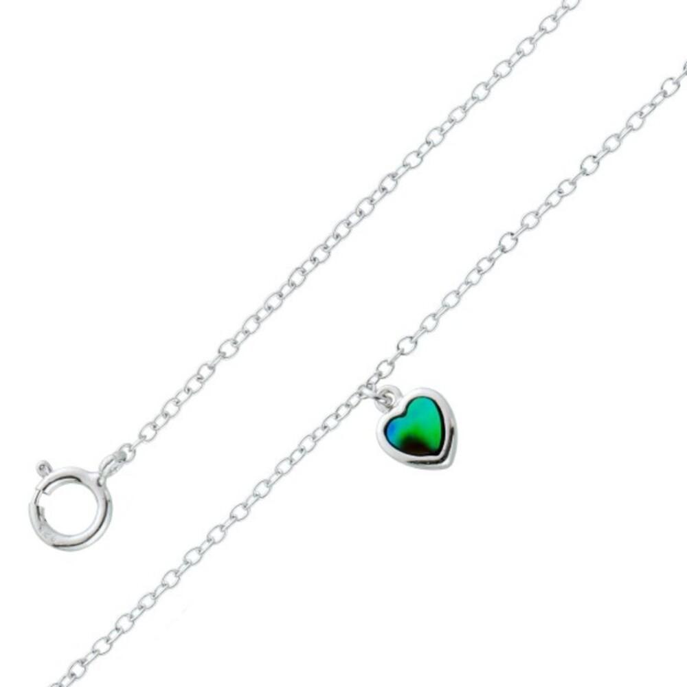 Perlmutt Herz Anhänger Fusskette Silber 925 Ankerkette Abalone Perlmutt  23+5cm