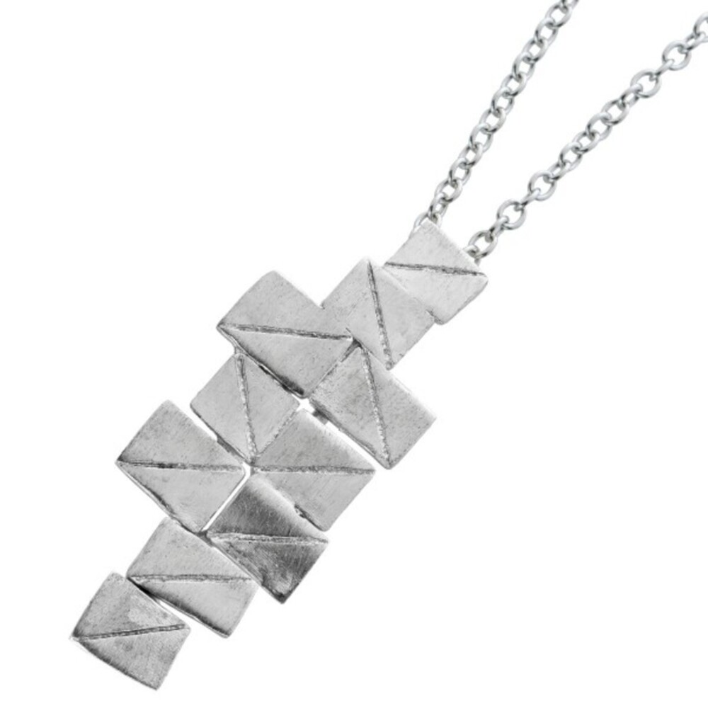Vivien Lee Designer Halskette mit Anhänger Edelstahl mattiert  40+7cm VL Kollektion_01