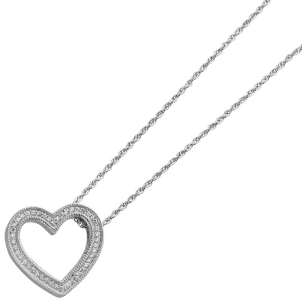 Herz Anhänger Collier Ankerkette Silber 925 Klare Zirkonia