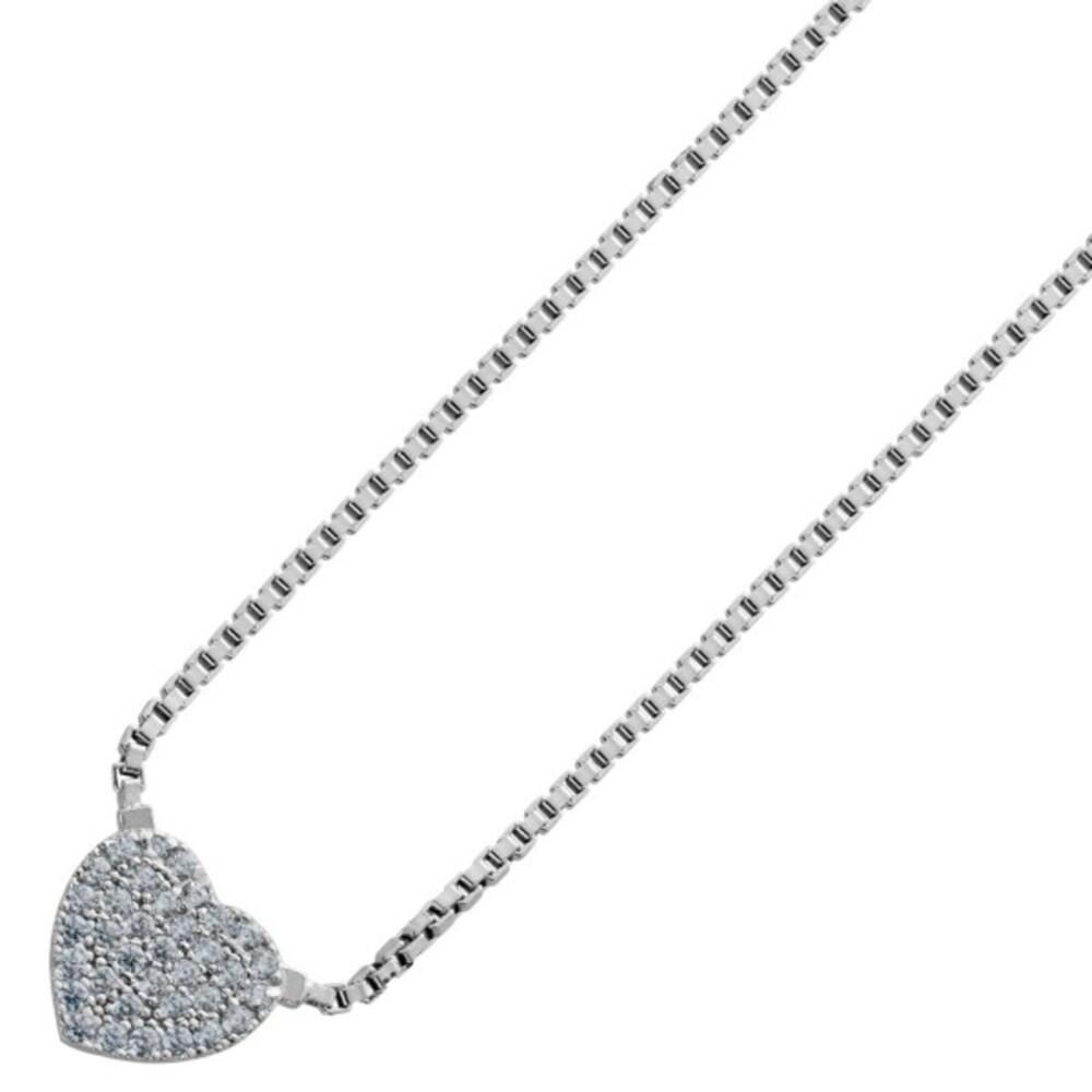 Herz Anhänger Collier Silber 925 Klare Zirkonia Zieh Verschluss Verstellbar