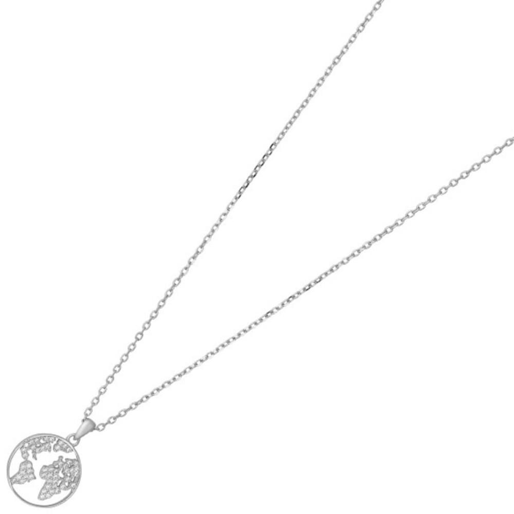 Nordahl Joanli Nor Halskette 245 143 EttaNor Rhodiniertes Sterling Silber 925 Klare Zirkonia 42+3mm