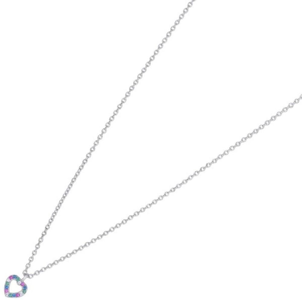 Nordahl Joanli Nor Halskette 245 150 FanaNor Rhodiniertes Sterling Silber 925 Bunte Zirkonia 42+3cm
