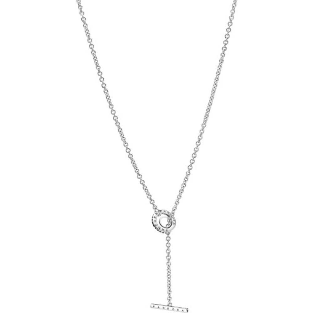 Pandora Halskette 399050C01-80 Pave Circle Logo T-bar Heart Silber 925