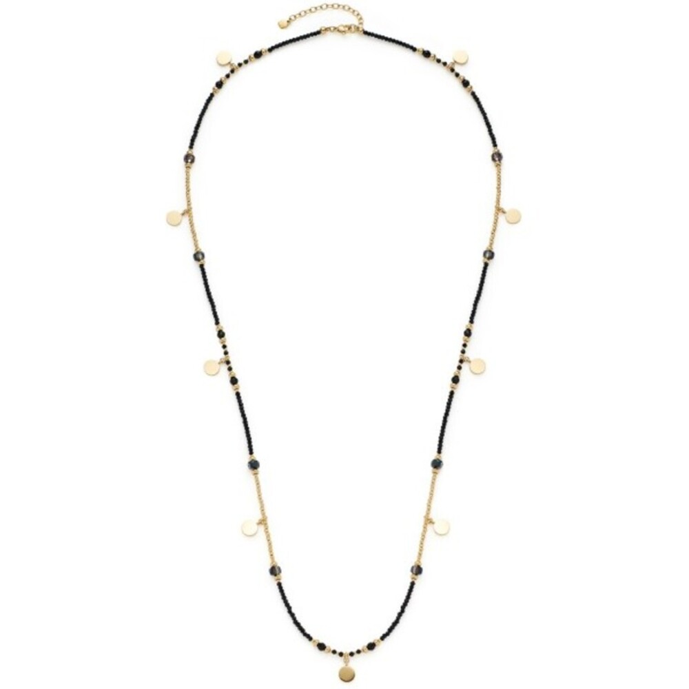 Leonardo Halskette Cesira 018304 Edelstahl IP Gold Schwarze Glasperlen