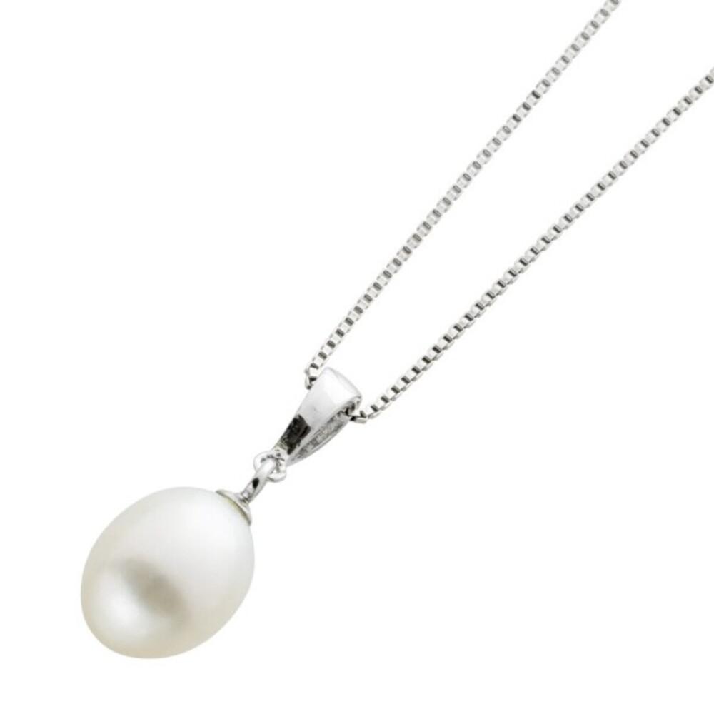 Lange Venezianer Kette mit Perlenanhänger Silber 925/-  Süsswasserperle  70cm lang