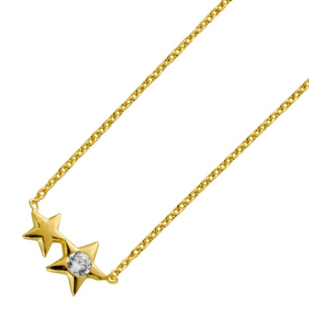 Silber Kette Sternkette Sterling Silber 925 vergoldet Zirkonia 38+5cm Verlängerungskette