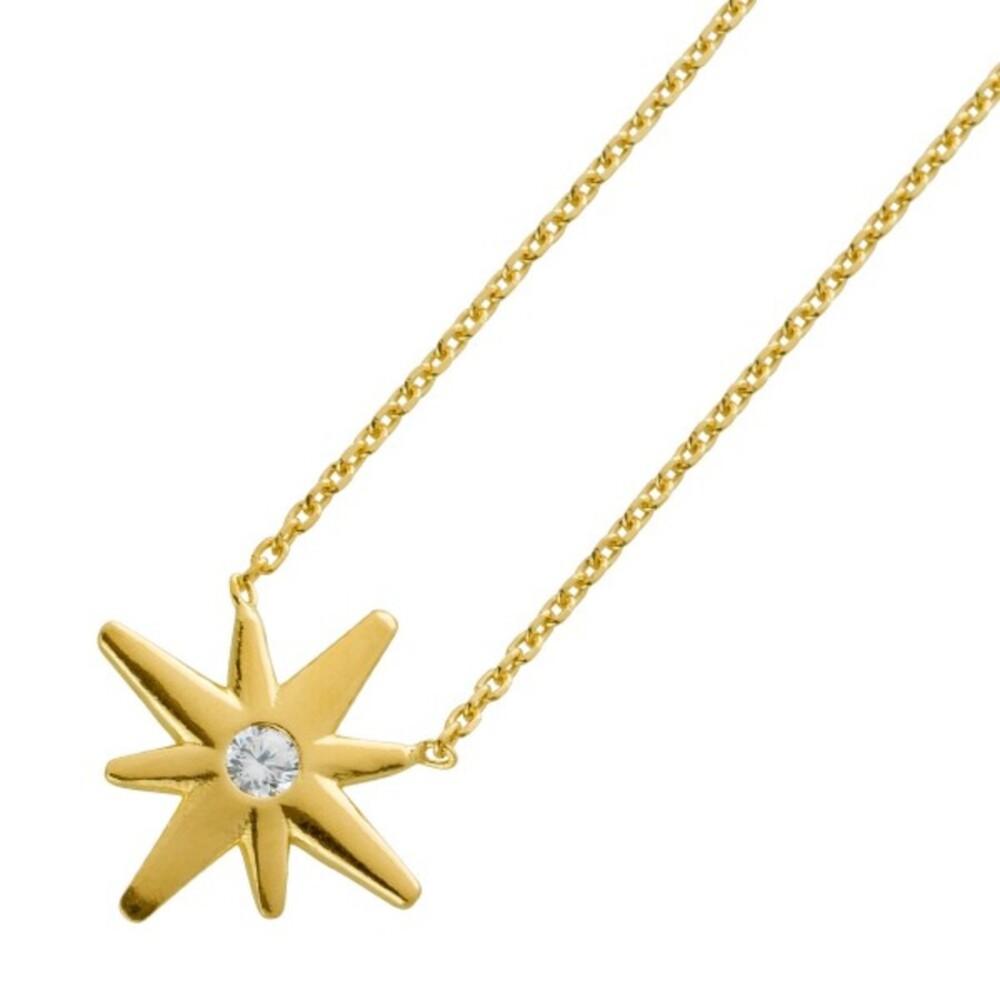 Sternkette echt Silber 925 vergoldet Stern mit Zirkonia 40+5cm Verlängerungskette
