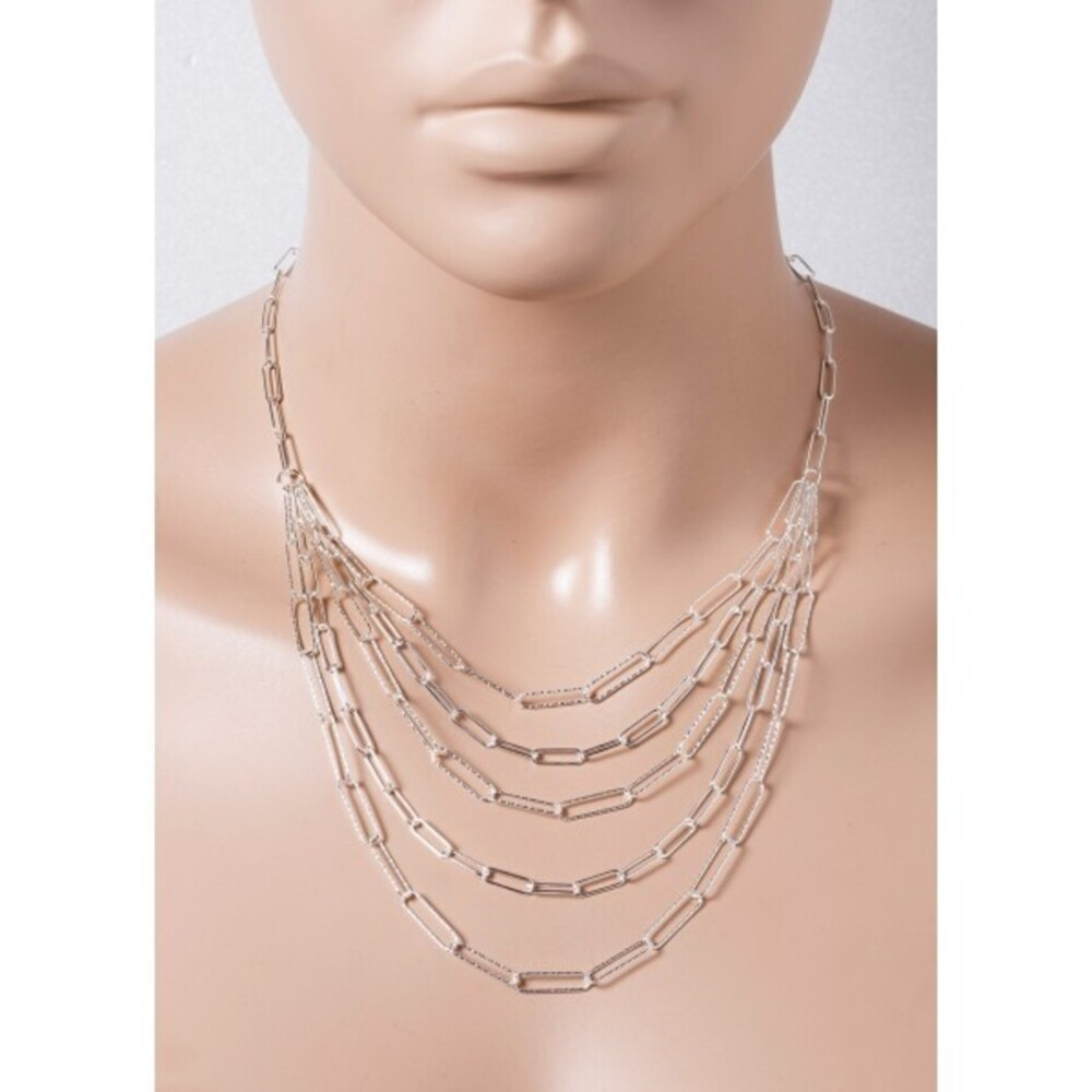 Designer Layering Kette Silber 925 5-reihig Ankerkette 42+5cm Verlängerungskette poliert diamantiert