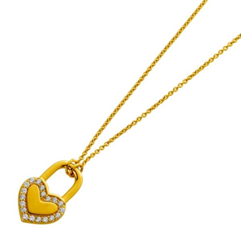 Kette Silber 925 vergoldet mit einem Herz Schloss Anhänger 20 Zirkonia
