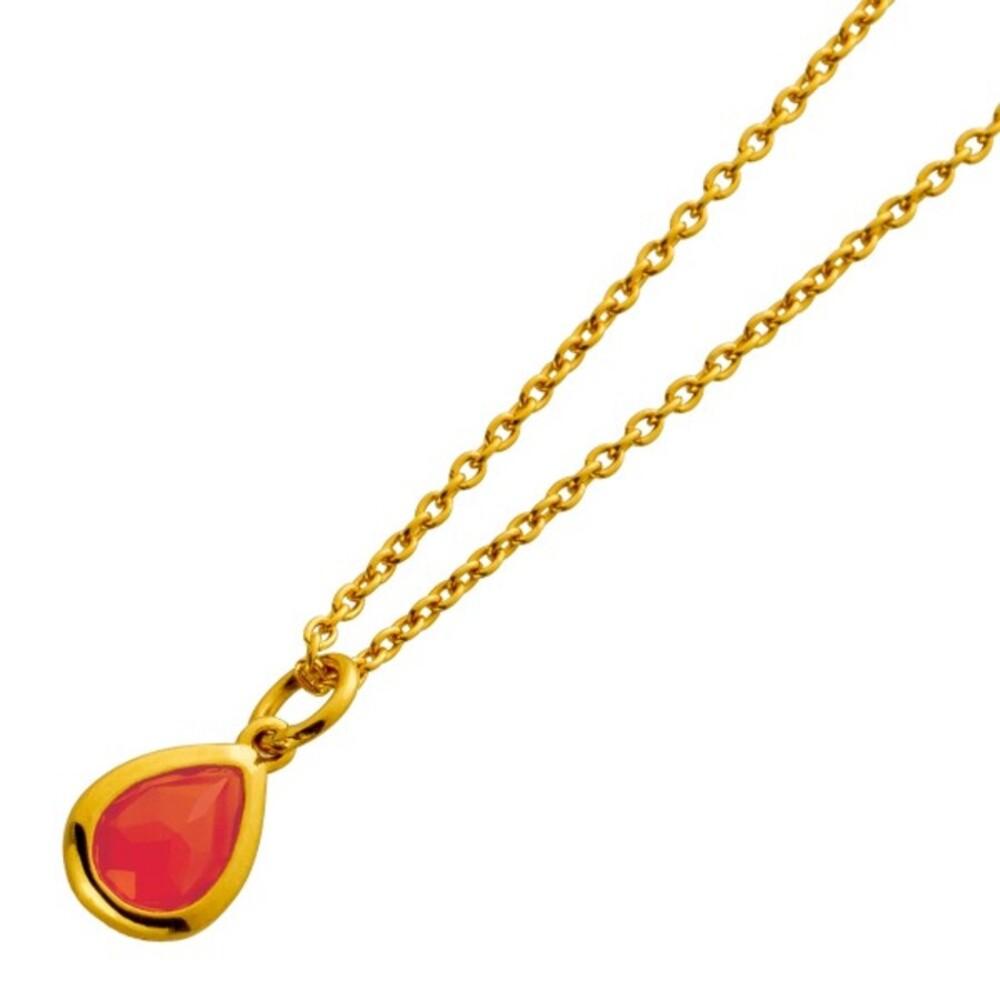 Kette mit Anhänger Silber 925 vergoldet mit einem orange farbenen Achat Edelstein