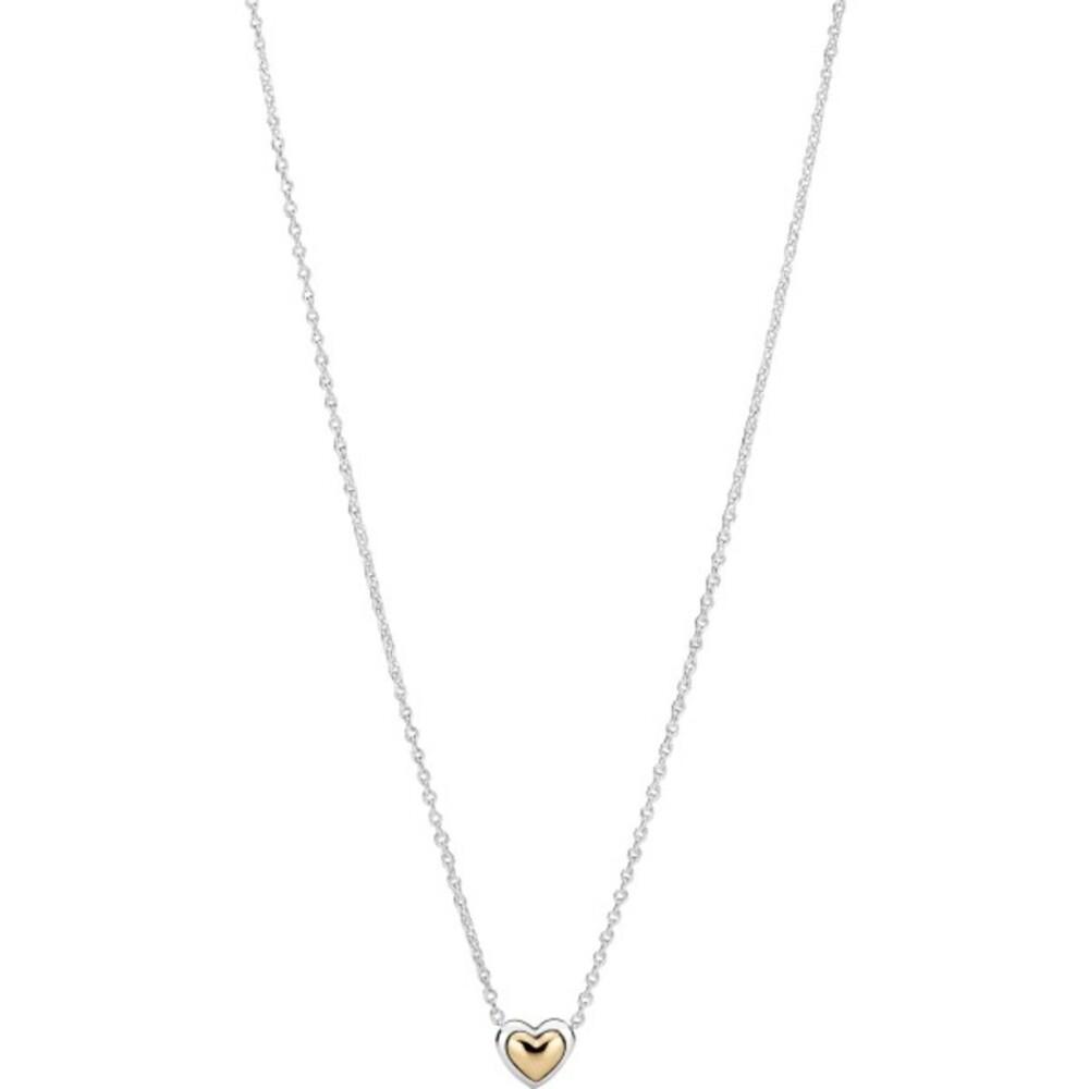 Pandora Moments Halskette Mit Anhänger 399399C00-45 Domed Golden Heart Collier Silber 925 Gold 14 Karat