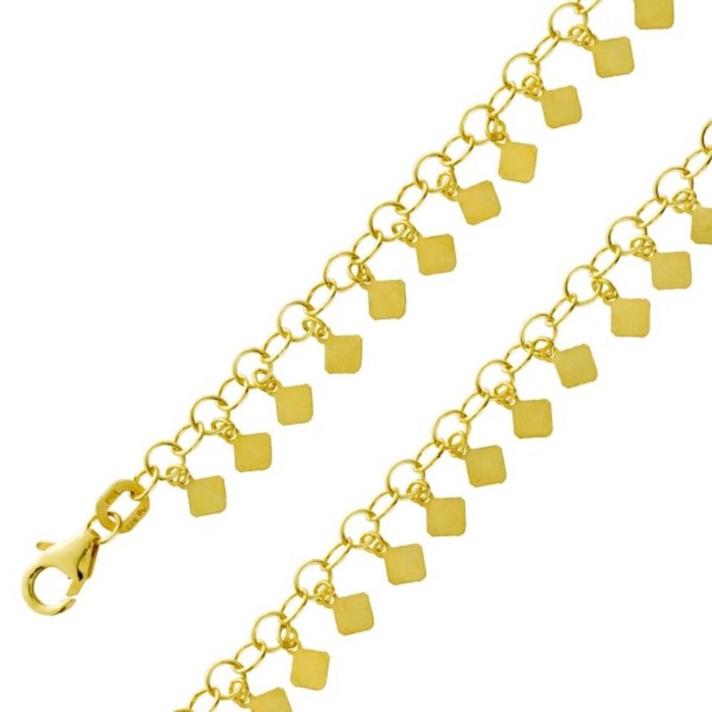 Boho Kette Boho Armband Silber 925 vergoldet Gelbgold mit beweglichen Silberplättchen Ibiza Hippie Plättchenarmband Plättchenkettte 38+5cm 16 +3cm