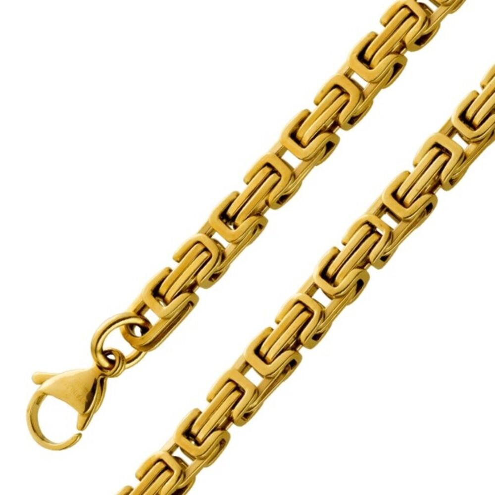 Königskette Armband 5,2mm Gelbgold Goldkette Goldarmband Edelstahl PVD beschichtet Breite 21cm 23cm 50cm 55cm 60cm