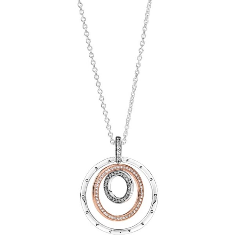 Pandora Halskette 389483C01-60 Two Tone Circle Silber 925