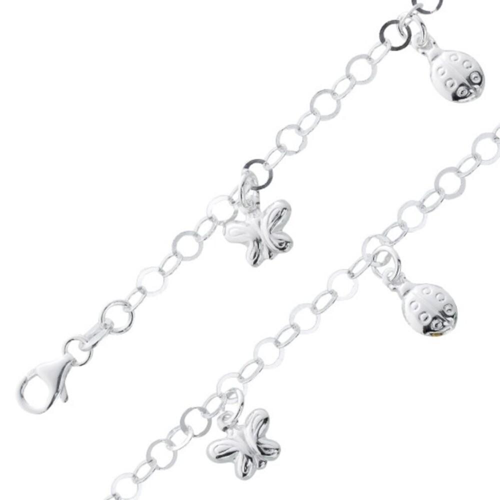 Kinder Armband Silber 925 Bettelarmband Anhänger Schmetterling Marienkäfer_02
