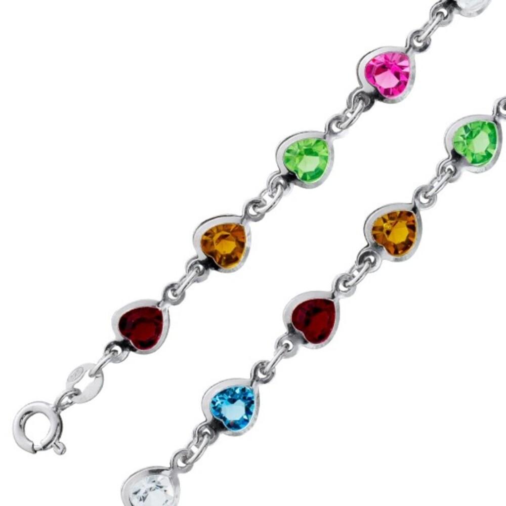 Herz Stein Armband bunte Multicolor Zirkonia Silber 925  1
