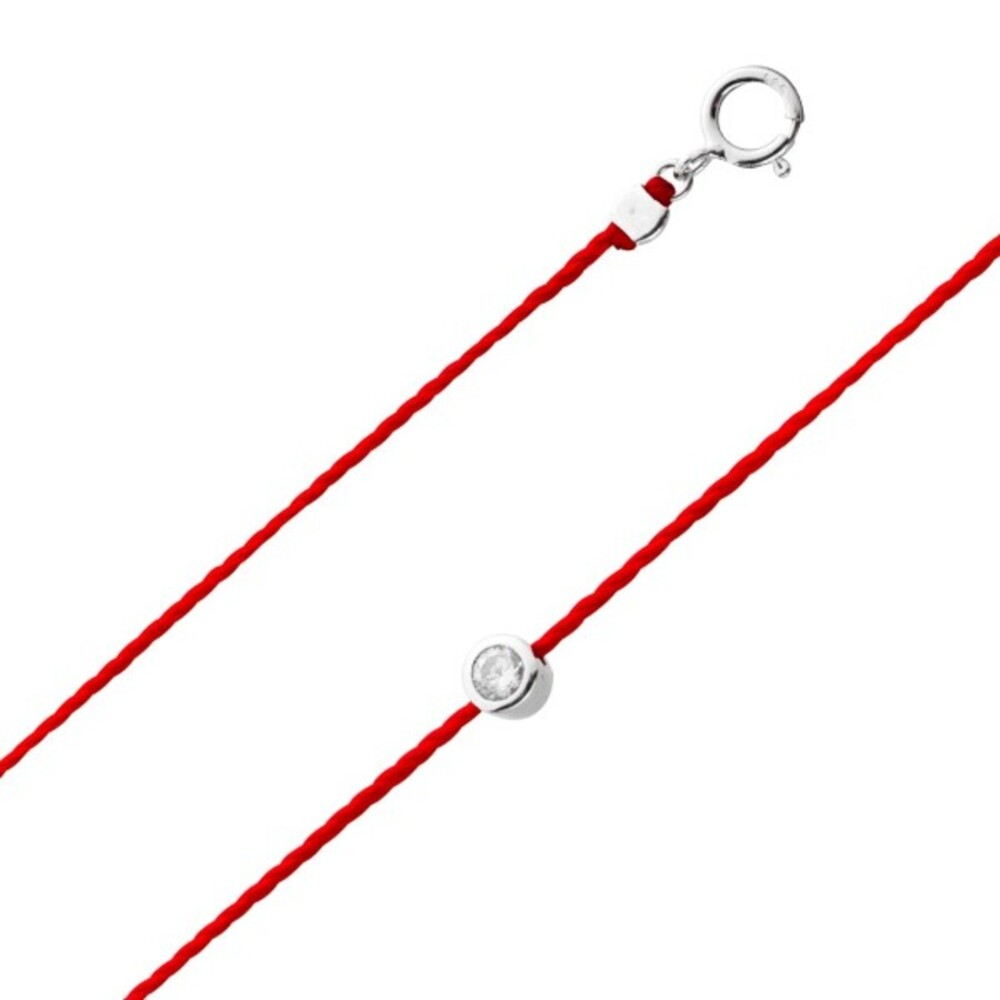 Glücksband Rotes Fadenarmband Silber 925 weisser klarer Zirkonia Ø4mm 18+3cm Damenschmuck_01