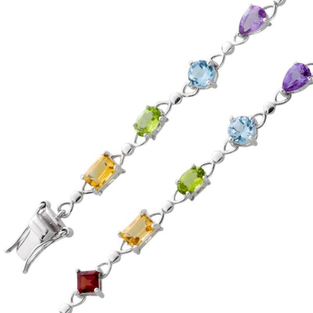 Multicolor Edelsteinarmband Silber 925 Regebogenfarben roter Granat gelber Citrin grüner Peridot blauer Blautopas lila Amethyst_01