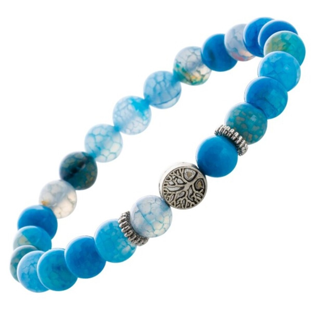 Blaues Achat Shamballa Armband Lebensbaum Esoterik Heilstein Edelstein dehnbar_01