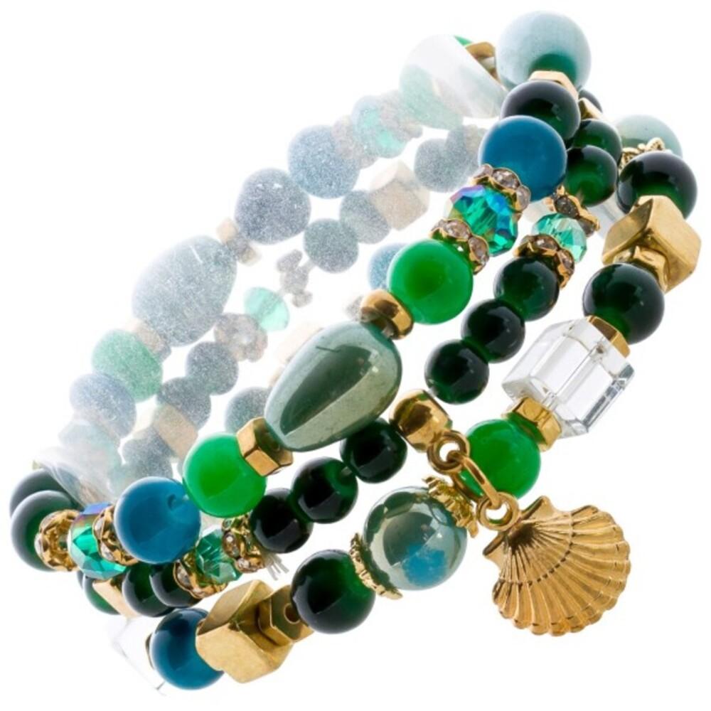 Glassstein Armband Set grün dehnbar Muschel Schutzpatron_01