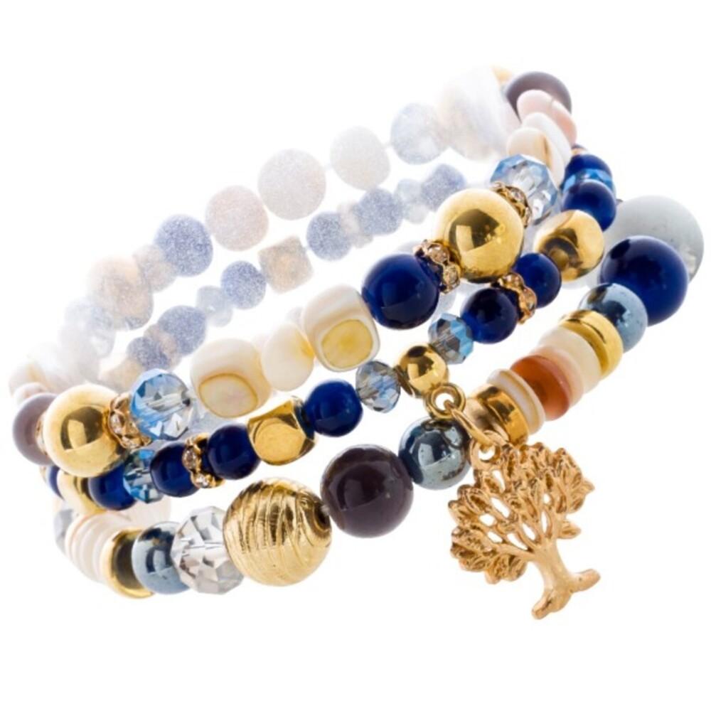 Lebensbaum Glassstein Armband Set  Blau goldfarben dehnbar _01