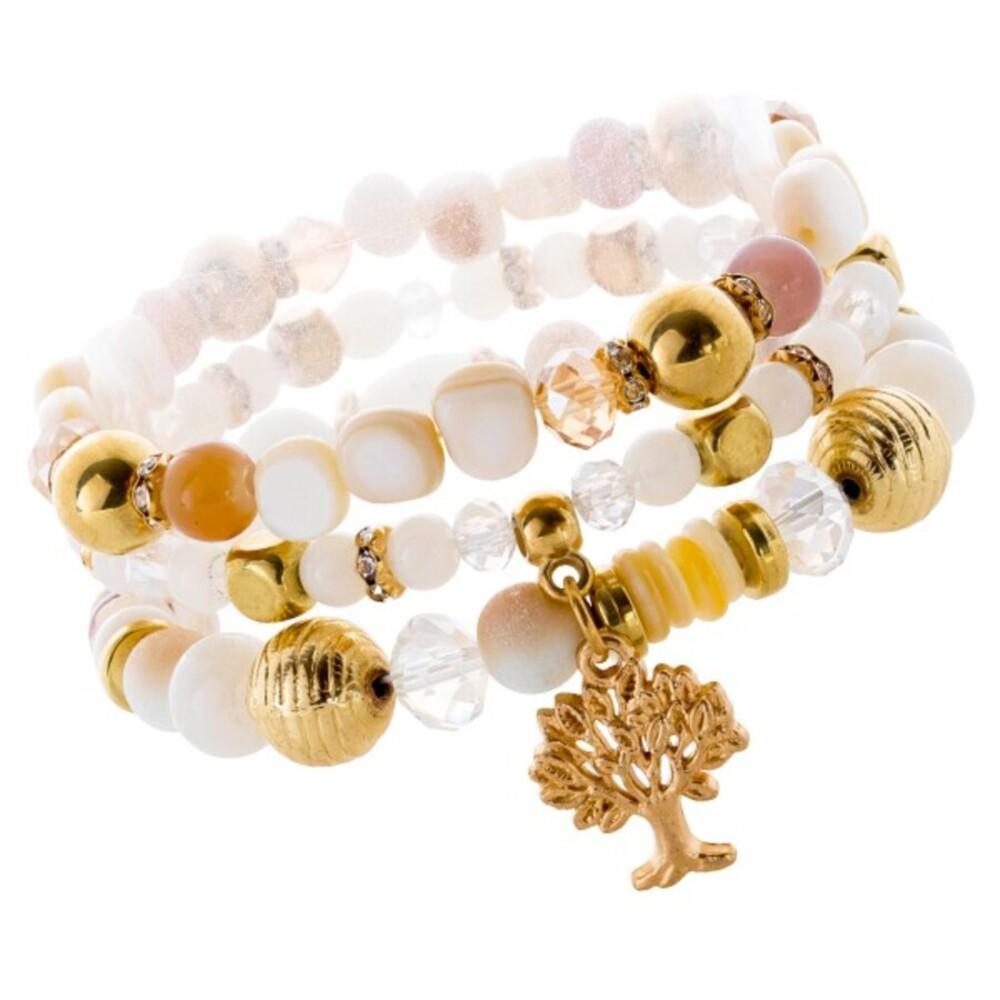Lebensbaum Glassstein Armband Set  weiß-cremefarben goldfarben dehnbar