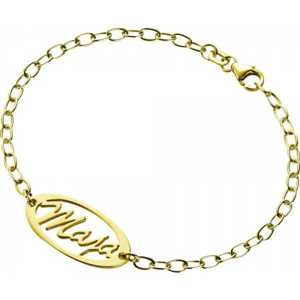Namensarmband Namenskette personalisierbar Armband Silber 925 vergoldet, 19cm