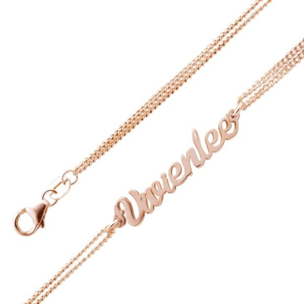 Namensarmband Namenskette personalisiertes Armband Silber 925 rose, 17+4cm