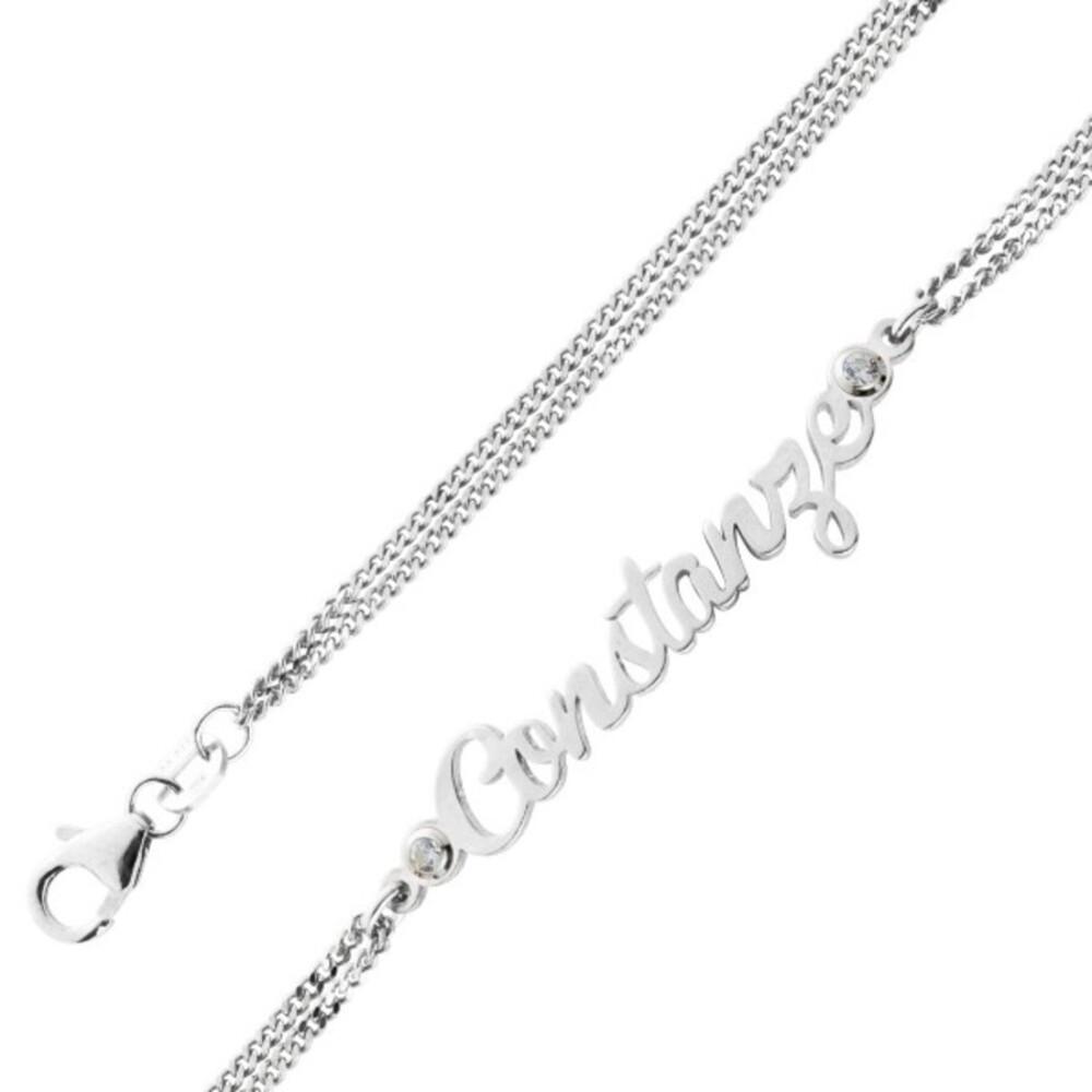 personalisierbare Namenskette Namensarmband Namensschmuck Silber 925, 17+4cm