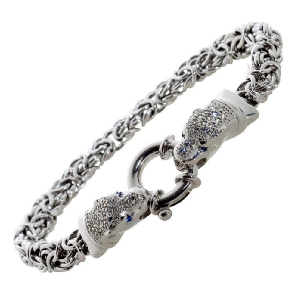 Tigerkopf Armband Königskette Silber 925 oval flach blau weisse Zirkonia