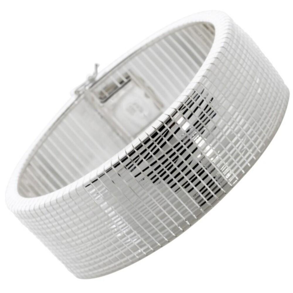 Armreif Armband Silber 925 beweglich Karomuster poliert rhodiniert Damen