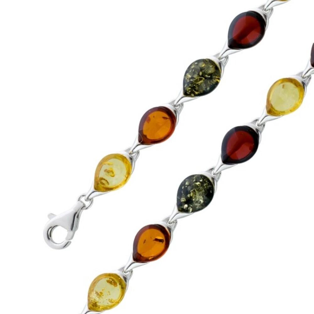 Multicolores Edelstein Armband Silber 925 Cerry Amber Bernstein gelber grüner brauner Bernstein Cabochon_01
