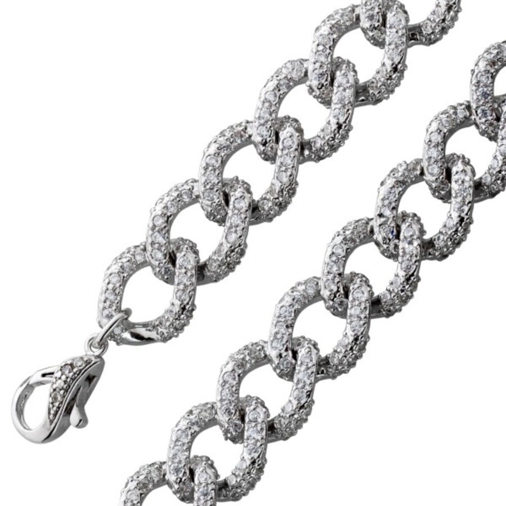 Zirkonia Panzerarmband Silber 925/- rhodiniert  massiv 18,5-21cm
