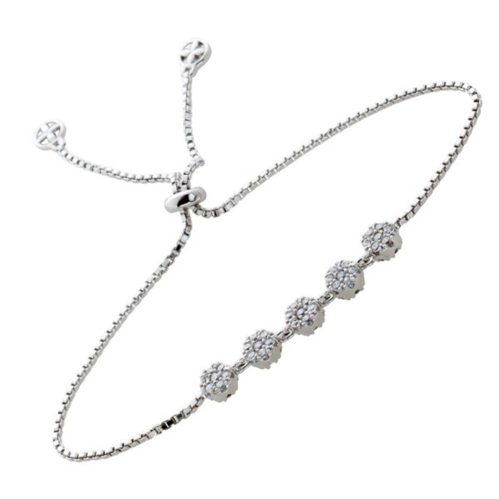 Zugarmband weißen Zirkonia Steinen Silber 925 längenverstellbar 1