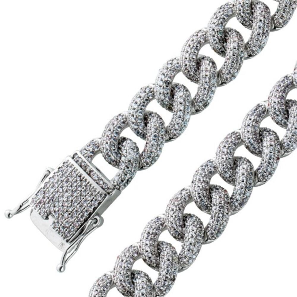 Armband Panzerarmband Sterling Silber 925 massiv Zirkonia Kastenschloss