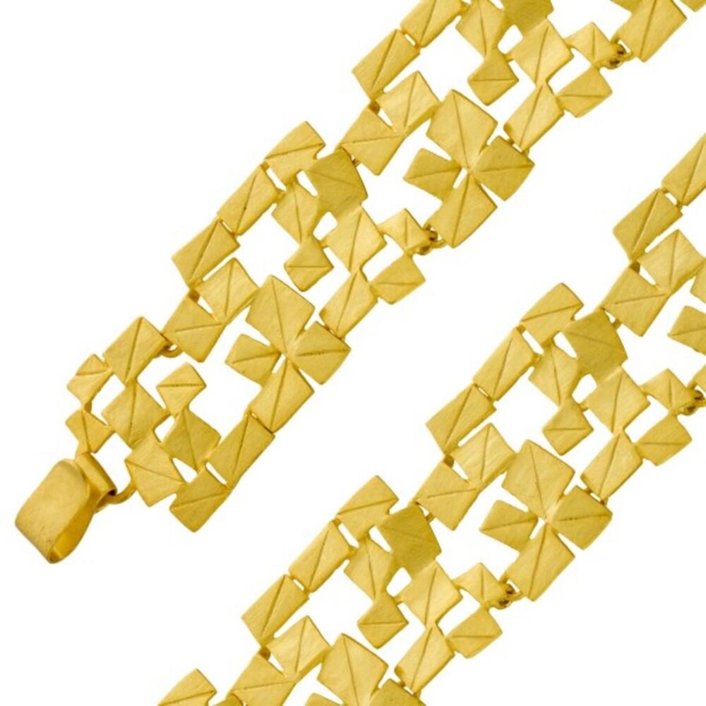 VIVIEN LEE Armband Lapponia Look Edelstahl vergoldet mattiert 20cm_0