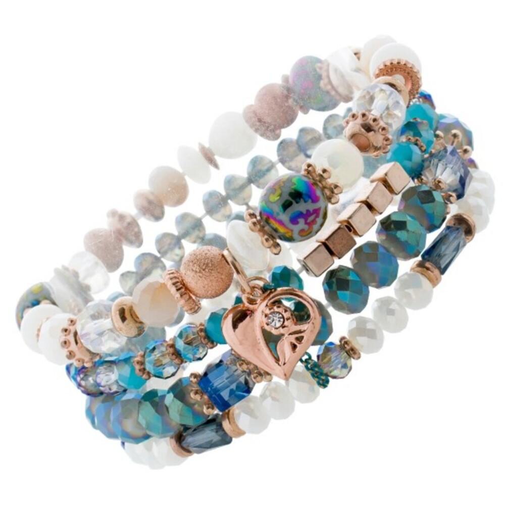 4-teiliges Armband Set bunten blauen Glaskugeln rose vergoldet Metall Herz 1
