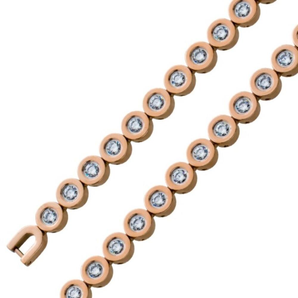 Tennisarmband weißen Zirkonia Steinen Edelstahl Rose vergoldet 1