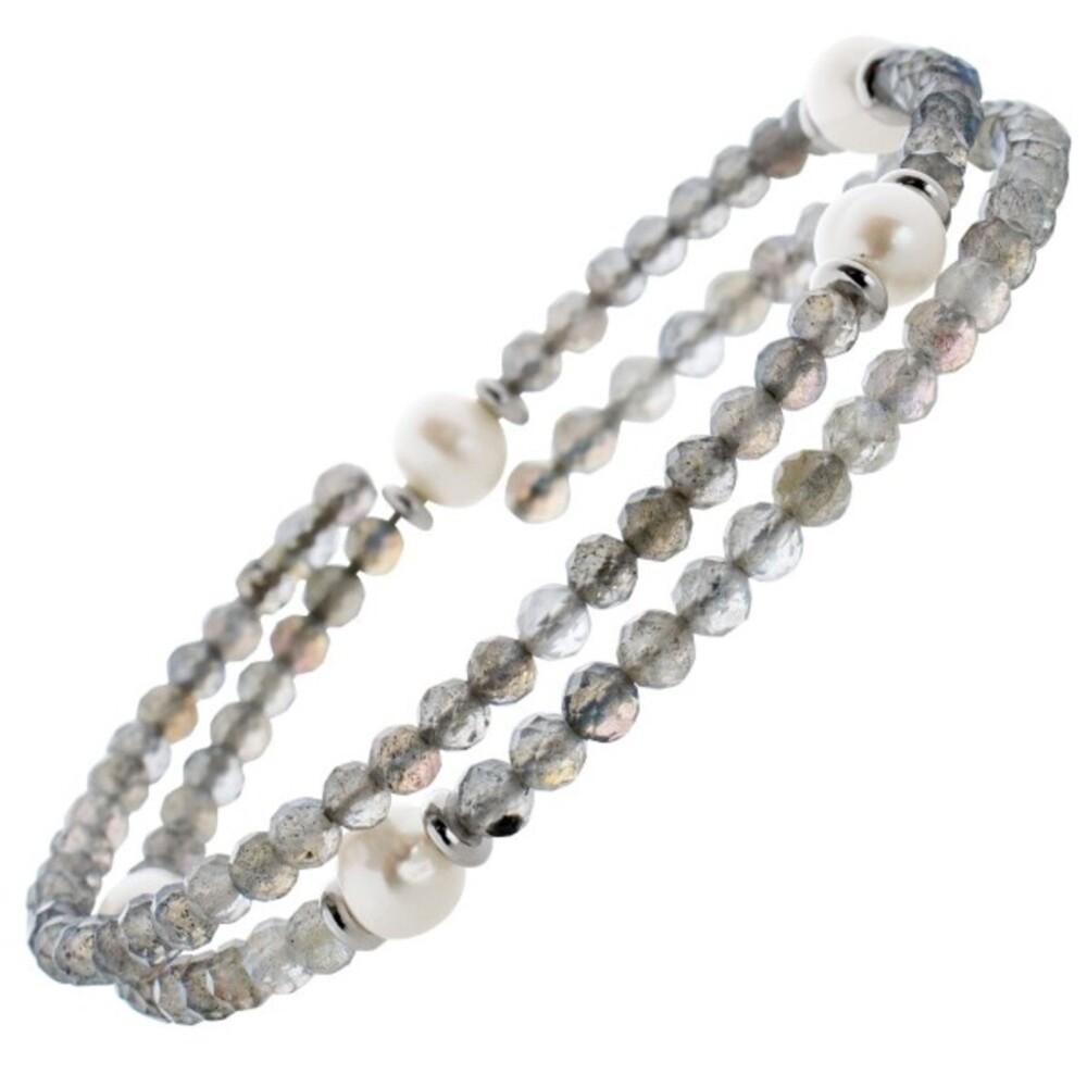 Mondstein Edelstein Armband facettiert Süsswasserperlen Stahldraht Größe variierbar_0