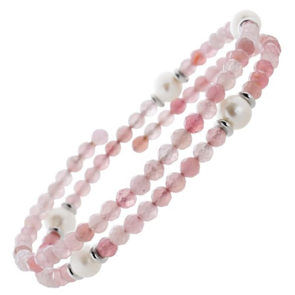 Pinkes Turmalin Edelstein Armband facettiert weisse Süsswasserperlen Stahldraht Größe variierbar_0