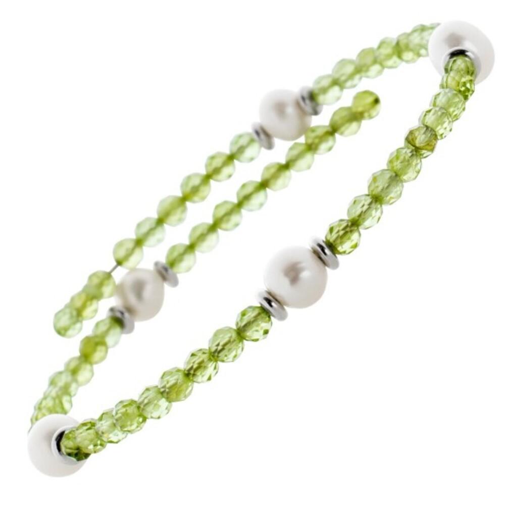 Grünes Peridot Edelstein Armband facettiert weisse Süsswasserperlen Stahldraht Größe variierbar_01