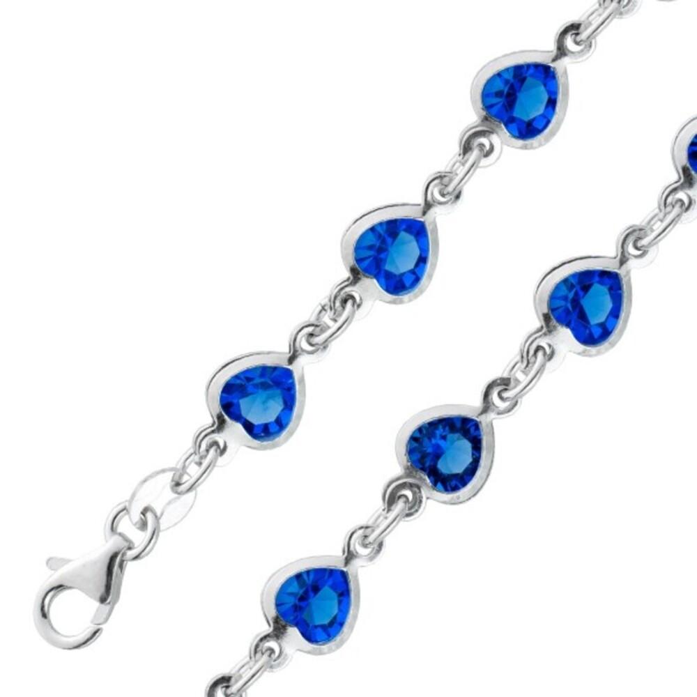 Herz Armband blau saphirfarbenen Zirkonia Silber 925 Damenschmuck 1