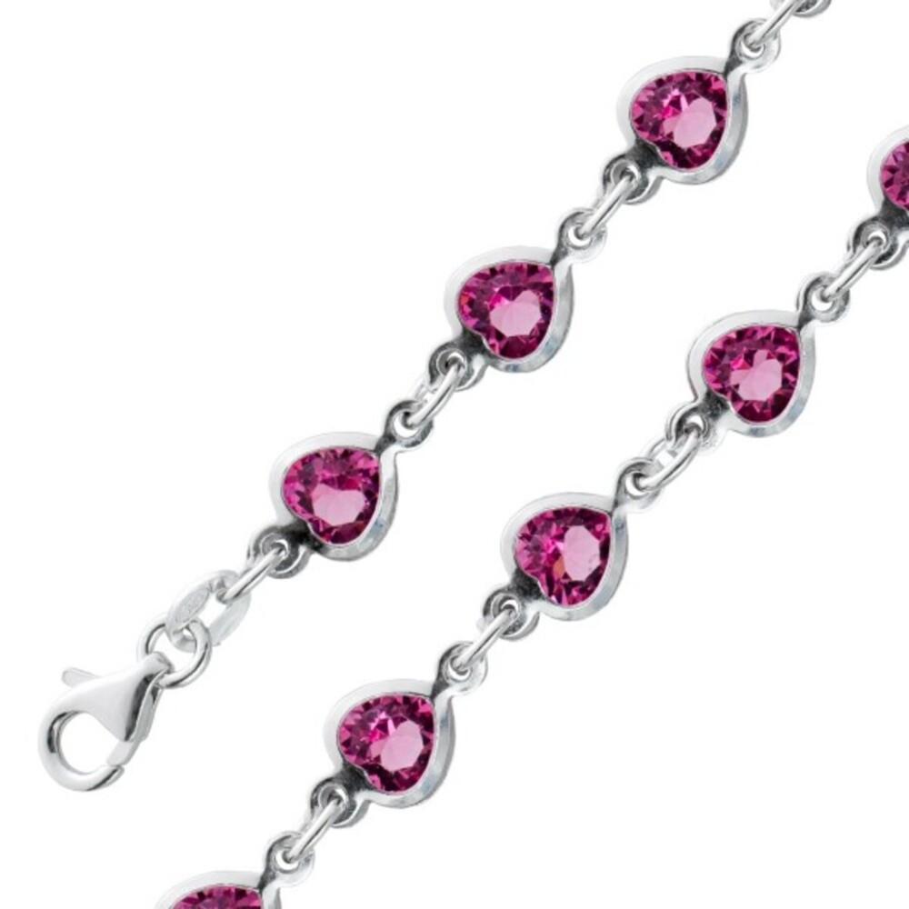 Herz Armband rosafarbenen Zirkonia Silber 925 Damenschmuck 1