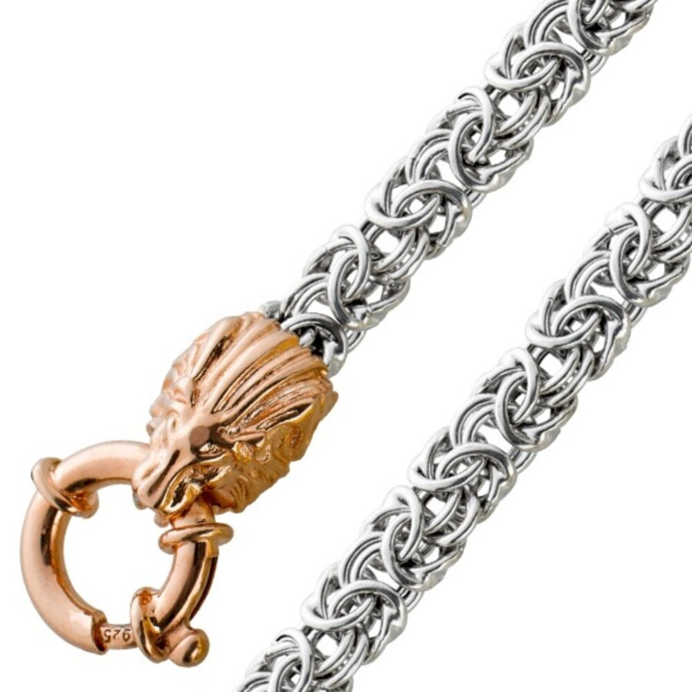 Löwenkopf Armband Königskette Silber 925 teilsrose vergoldet