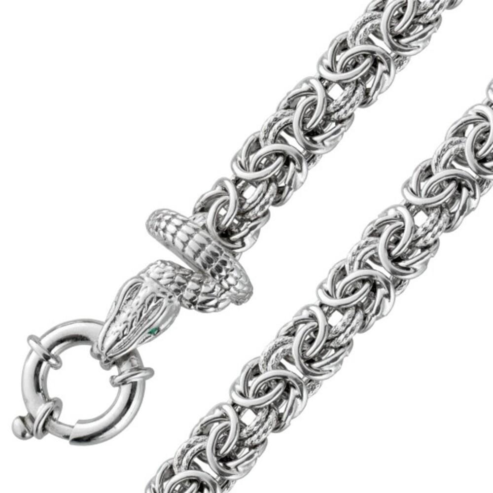 Schlangenkopf Armband Königskette Silber 925 grünen Zirkonia