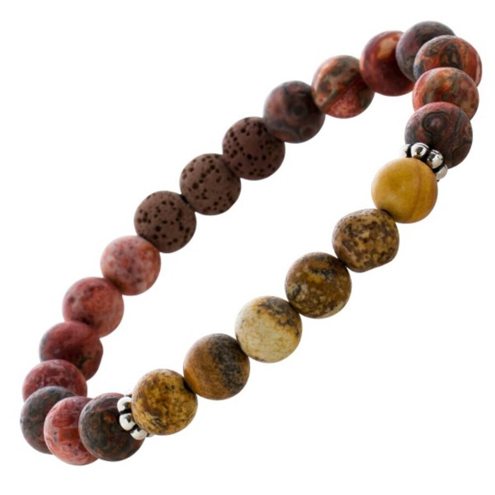Dehnbares Lava Leopard Steine Kugelarmband Armband braun-roten Kugeln 8-9mm Damen Herren