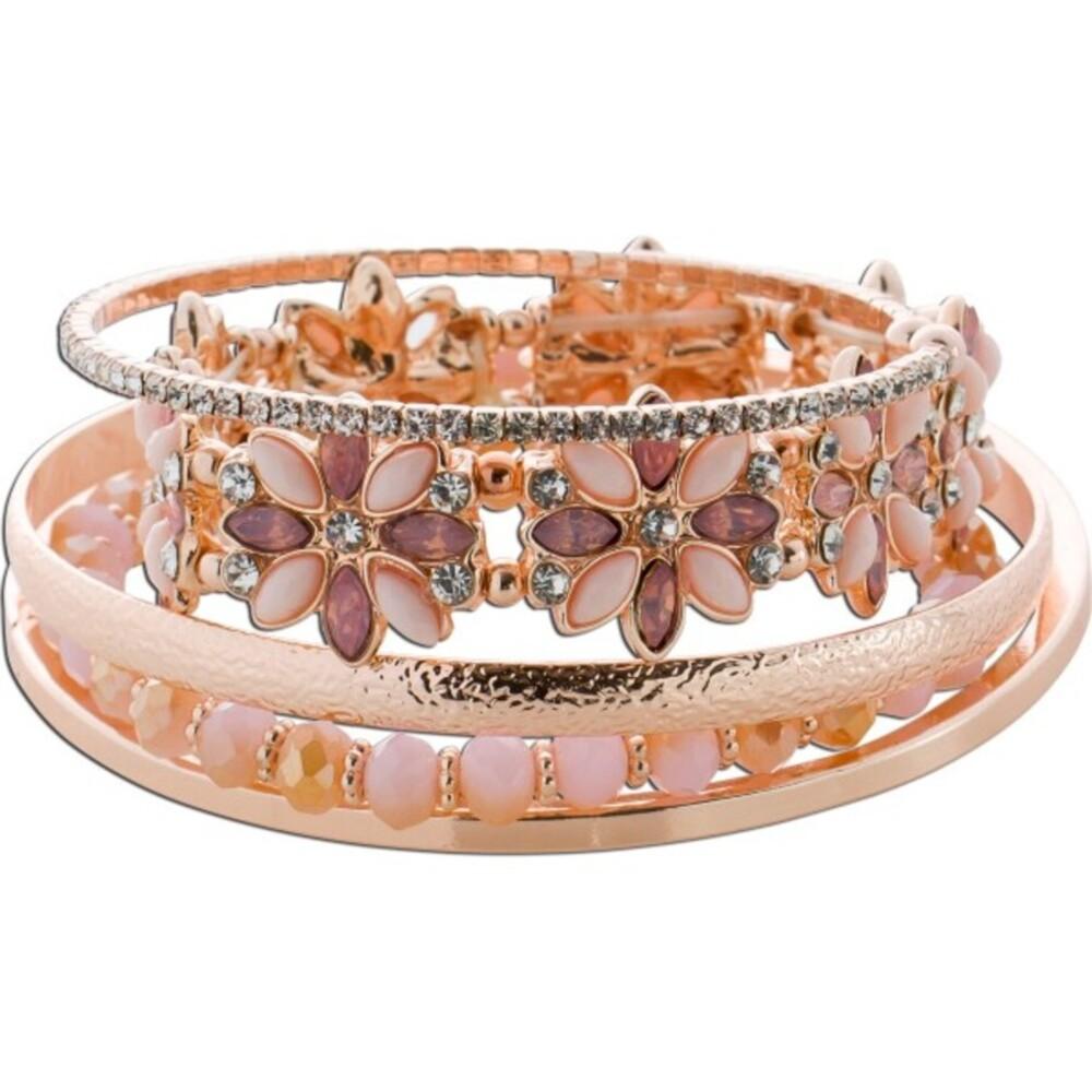 Armband Armreif Schmuck Set 5-teilig  Metall Rose vergoldet rosa-braune Glaskugeln Zirkonia