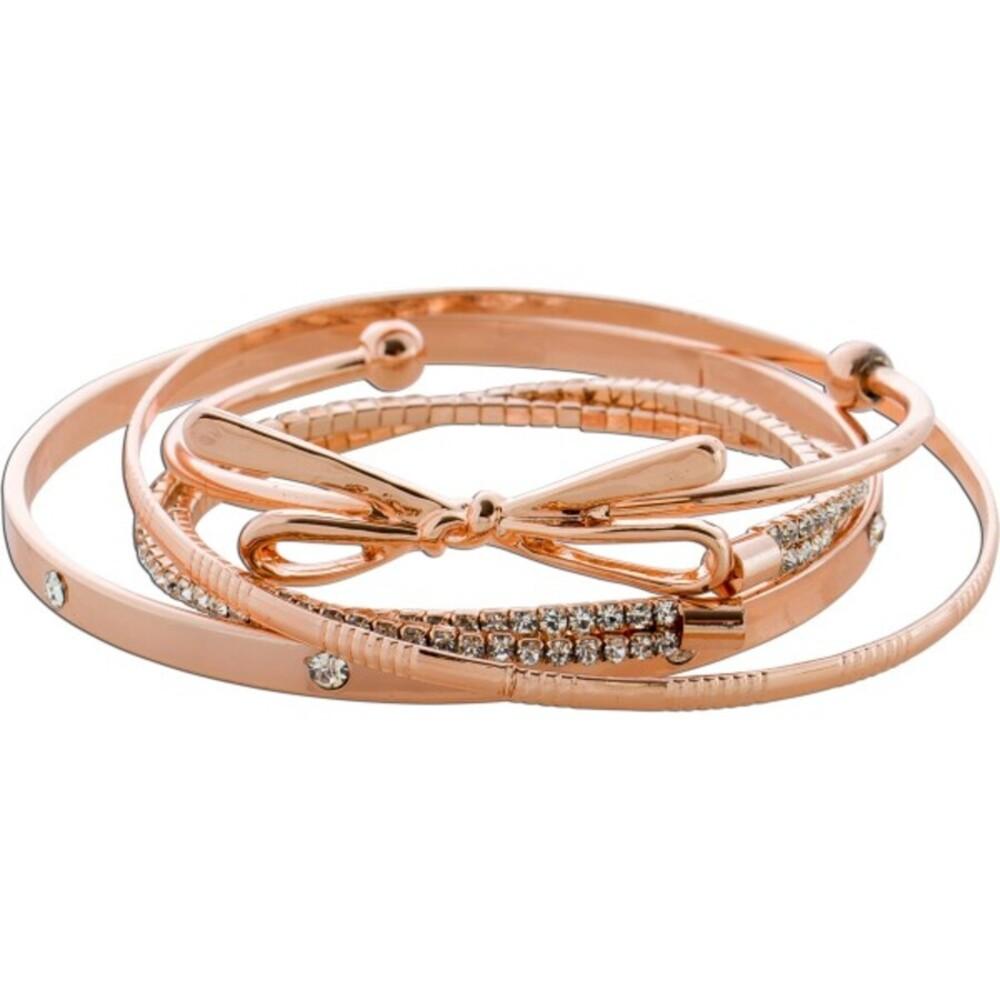 Armreif Schmuck Set 4-teilig Armband Metall rosé vergoldet Zirkonia Schleife